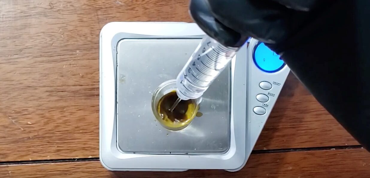 weighing rosin and alcohol